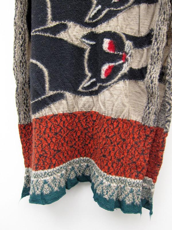 Kapital Compressed Wool Scarf, Bagdad Cat, Beige