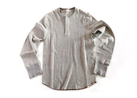 Men's Todd Snyder + Champion - Long Sleeve Henley Grey Mix