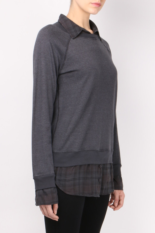 Monrow Plaid Double Layer Sweatshirt