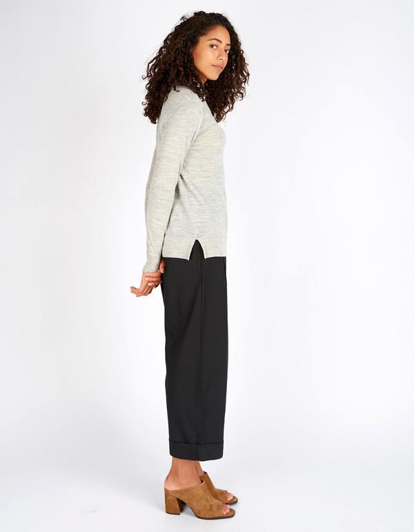 Selected Femme Mero New LS Knit T-Neck Pullover Light Grey Melange