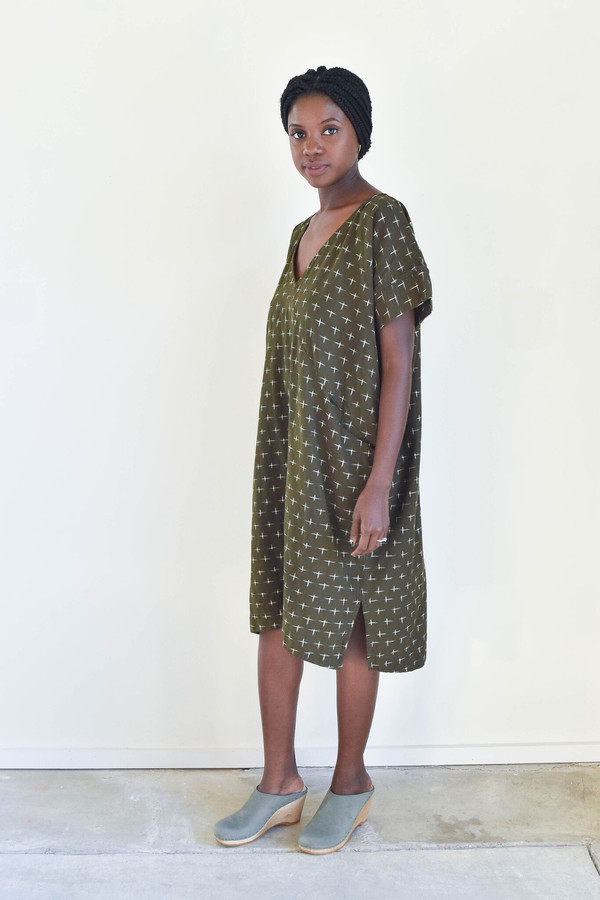 Esby Alice Tunic in Olive Ikat