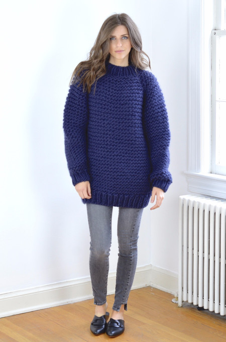 I Love Mr. Mittens Wool Boxy Sweater - Navy