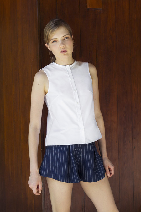 UNIFORME Heath High Waisted Shorts - Indigo Stripe Linen