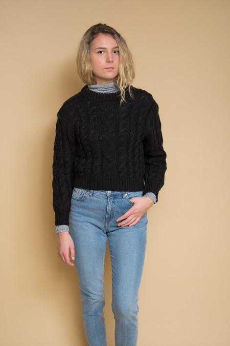 Callahan Braid Crop Sweater / Black