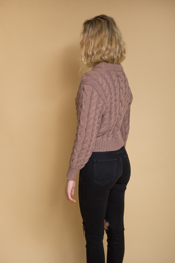 Callahan Braid Crop Sweater / Lilac