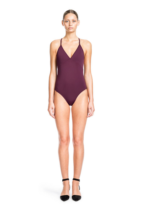 Beth Richards Barre One Piece - Port  CLASSIC ONE PIECE WITH CRISS CROSS BACK