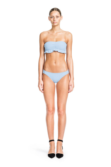 Beth Richards Chloe Top - Chambray BANDEAU WITH RUFFLE DETAIL