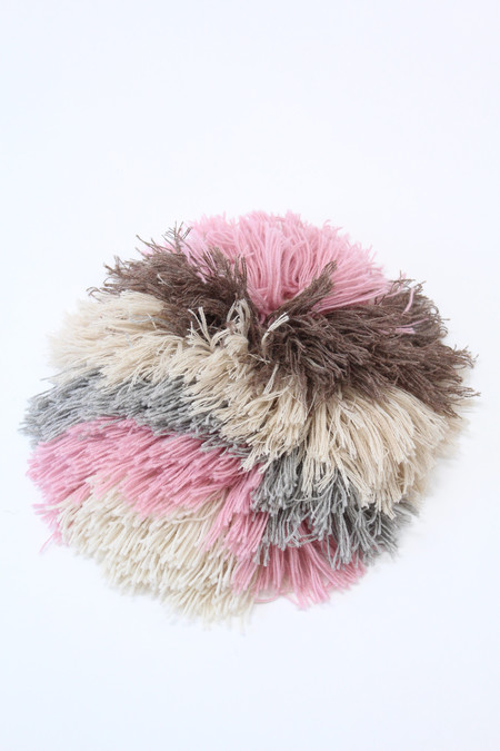Artist Alpaca Handmade Fringe Pillow Pink Mix Stripe