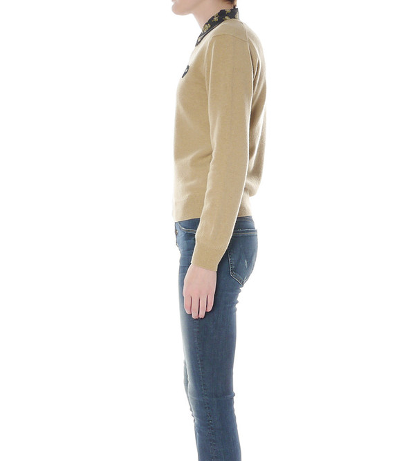Comme Des Garcons Play Camel V-Neck Wool Sweater