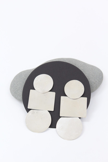 Annie Costello Brown Popova Disc Earring Silver