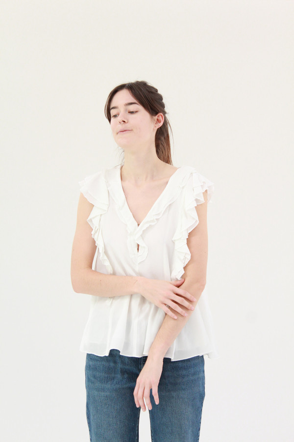 Apiece Apart Condesa Double Ruffle Top White