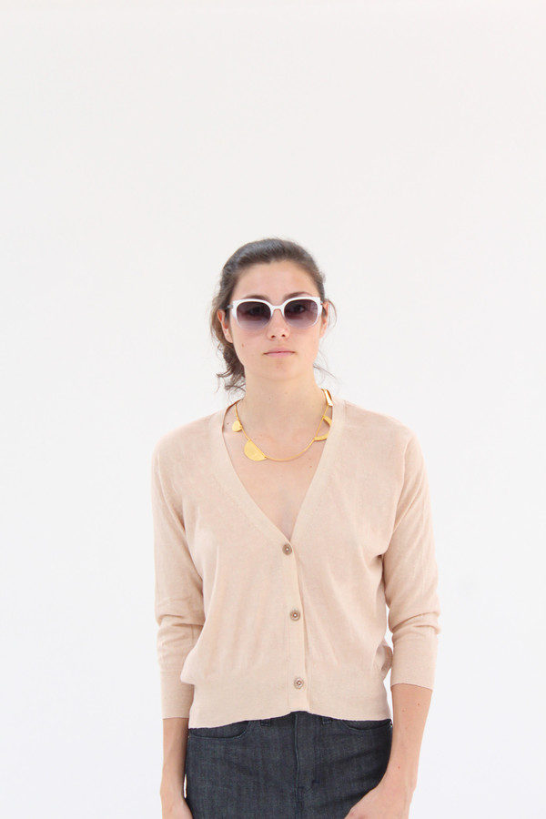 Beklina 3/4 Cotton Knit Cardigan Cashew