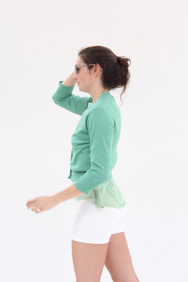 Lina Rennell 3/4 Cotton Knit Cardigan Jade
