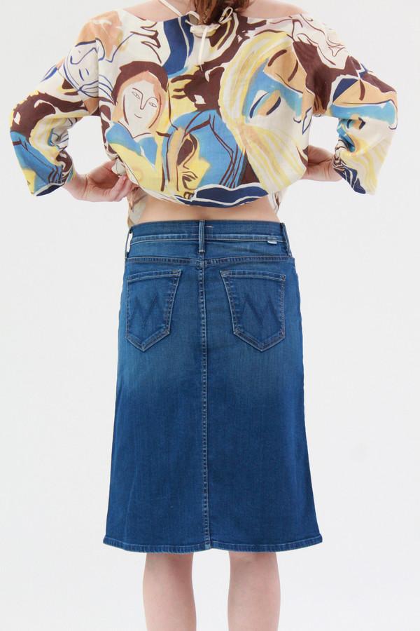 Mother Denim High Waisted Button Down Midi Skirt