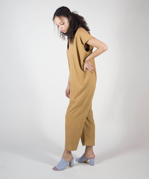 Miranda Bennett Camel Everyday Jumpsuit