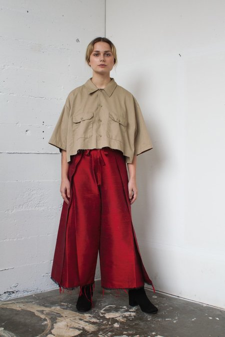 Alexa Stark red silk wrap pants