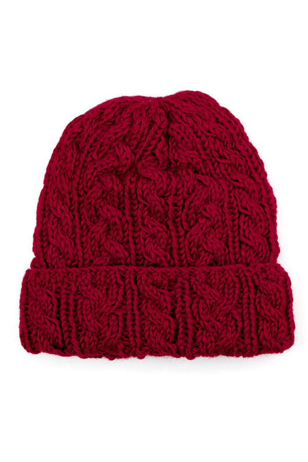 Bridge & Burn Cable Knit Watch Cap Crimson