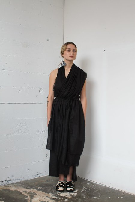 Alexa Stark gathered linen wrap dress