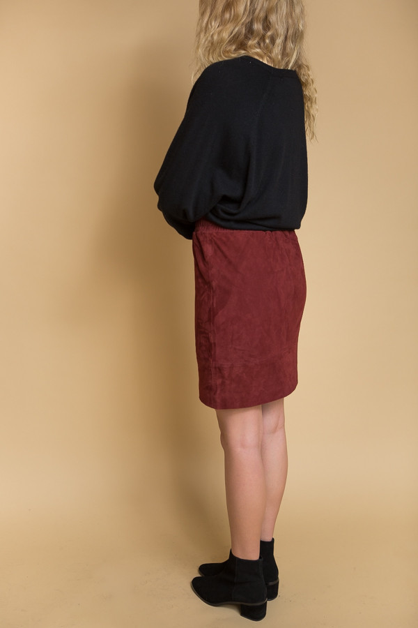 Just Female Mood Suede Skirt - Oxblood