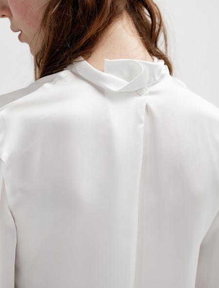 Lemaire Womens High Neck Tee-Shirt White Satin