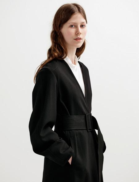 Lemaire Womens Wrapover Coat Black