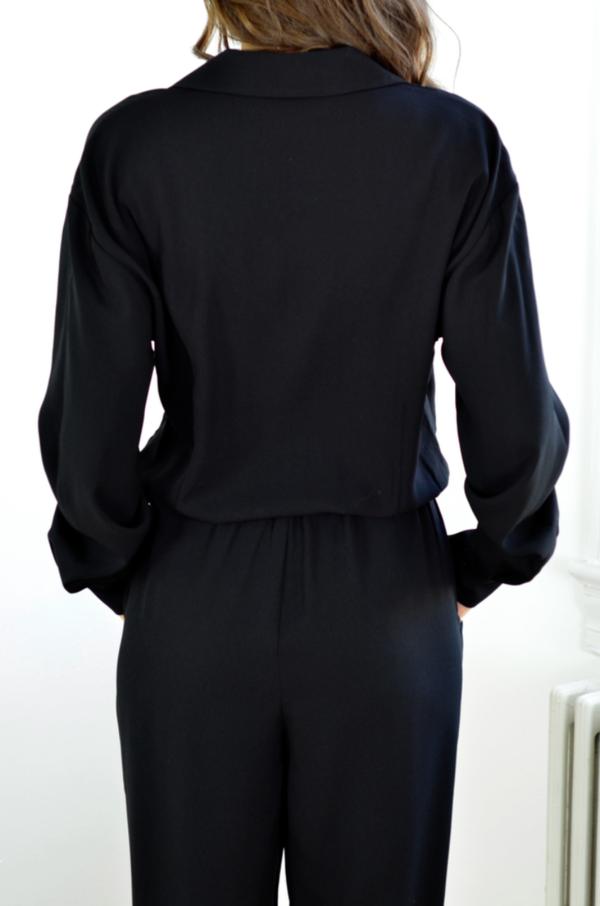 FRAME Denim Crepe Jumpsuit in Noir