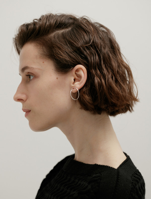 Medley Institute Dropped Double Orbit Earrings Silver
