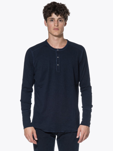 Men's Wings + Horns Knit 1X1 Slub Rib Long Sleeve Henley New Placket