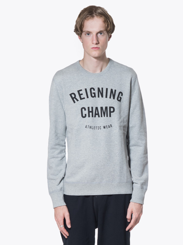 Men's Reigning Champ Knit Mid Wt Terry Gym Logo LS Crew Neck