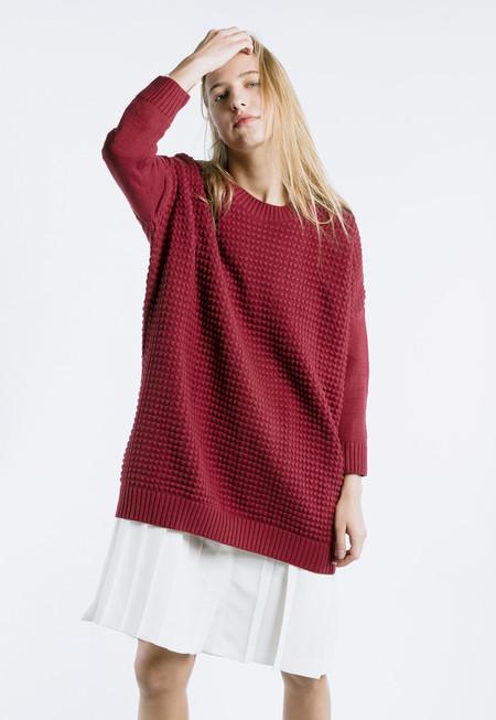 Thinking MU Square Knit Dress in Tibetan Red
