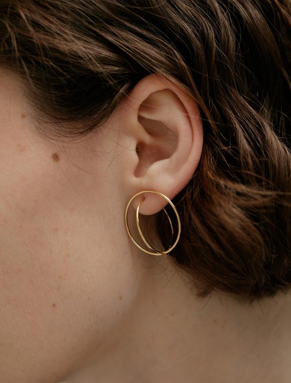 Medley Institute Dropped Double Orbit Earrings Gold