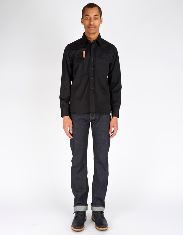 Men's Tellason Topper Shirt Black Japanese Twill