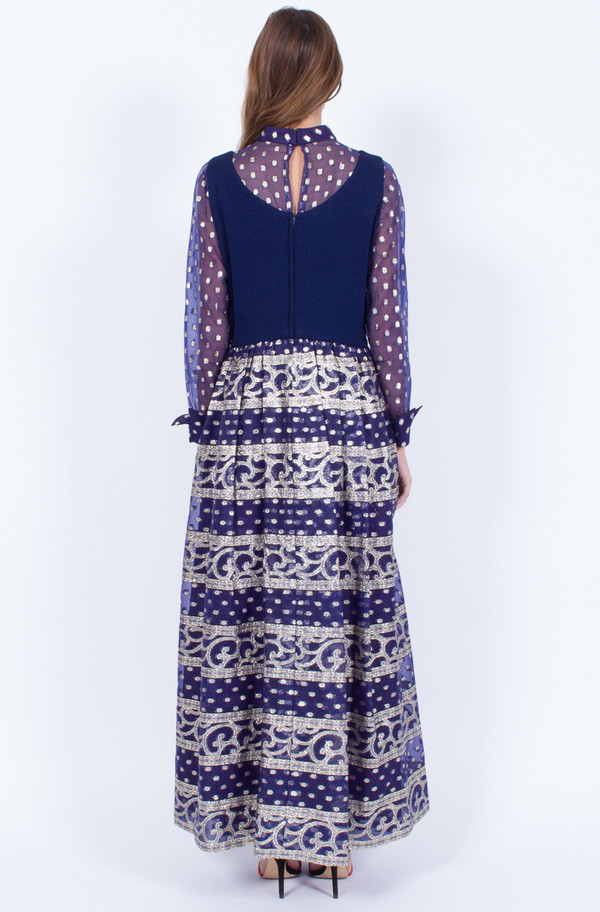 Yo Vintage! NAVY GOLD 1970S DRESS