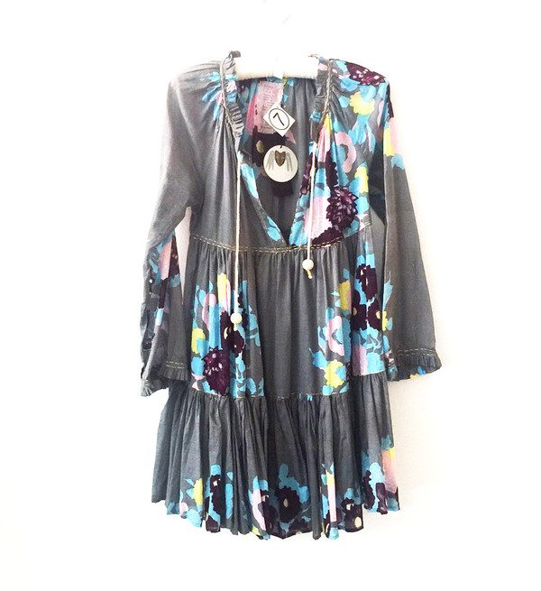 Yvonne S Mini Hippy Dress - Elephant Grey with Big Flower