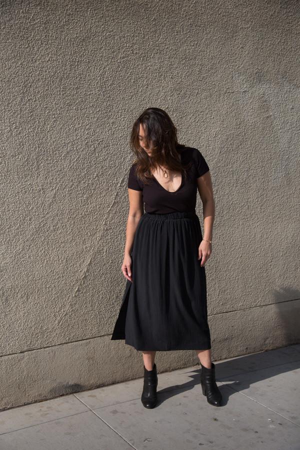 ali golden silk midi skirt