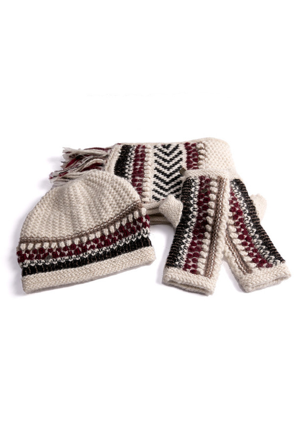 EMILIME Hola Fingerless Gloves White Burgundy