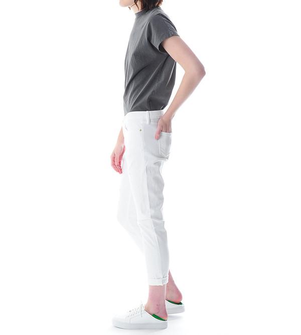 FRAME Denim Le Garcon Rip Jeans in Rip Blanc