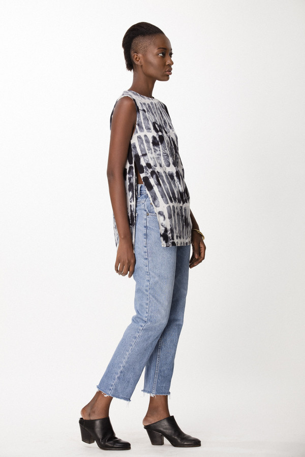 Osei-Duro Taifa Top in Black Chalk