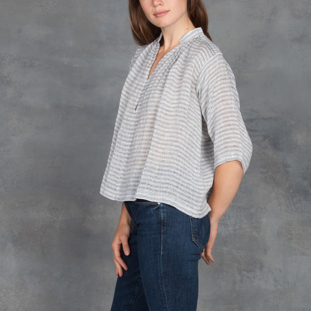 Apiece Apart Shirred Agata Top in Linen French Stripe