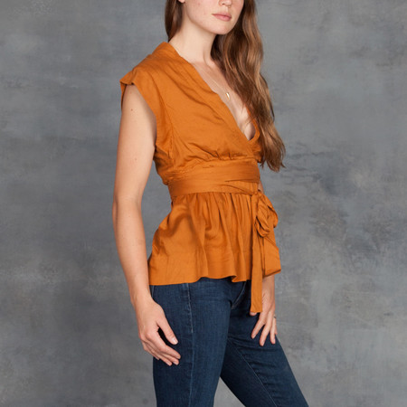 Gat Rimon Yoyo V Neck Tie Top in Gold
