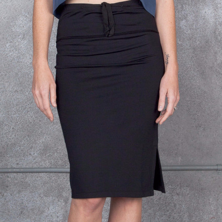 Humanoid Snavel Pencil Skirt in Black French Terry