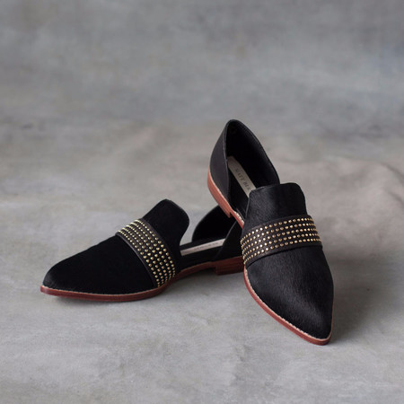 Matt Bernson Sterling Stud Cut Out Loafer in Black Pony Hair