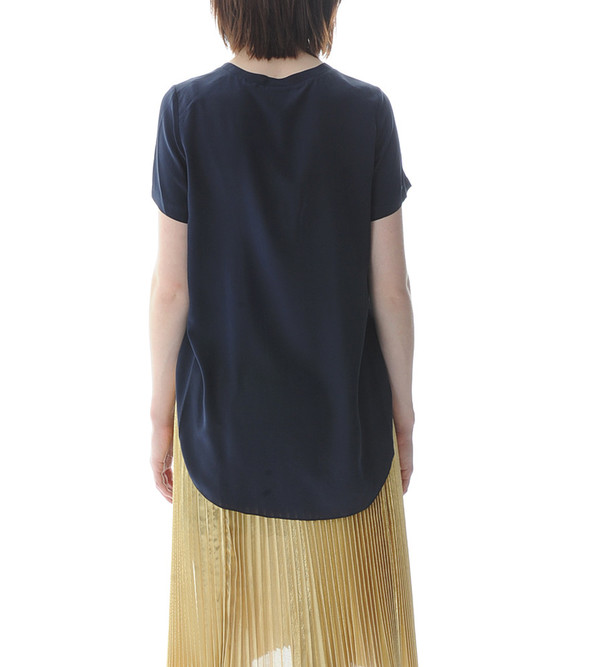 3.1 Phillip Lim Navy T-Shirt with Overlapped Side Seams