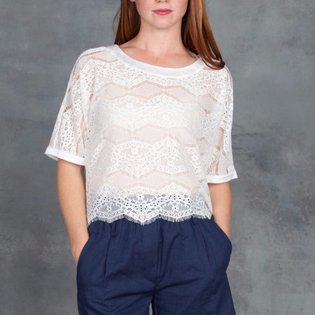 SEN Grammer Lace Pullover Top in White