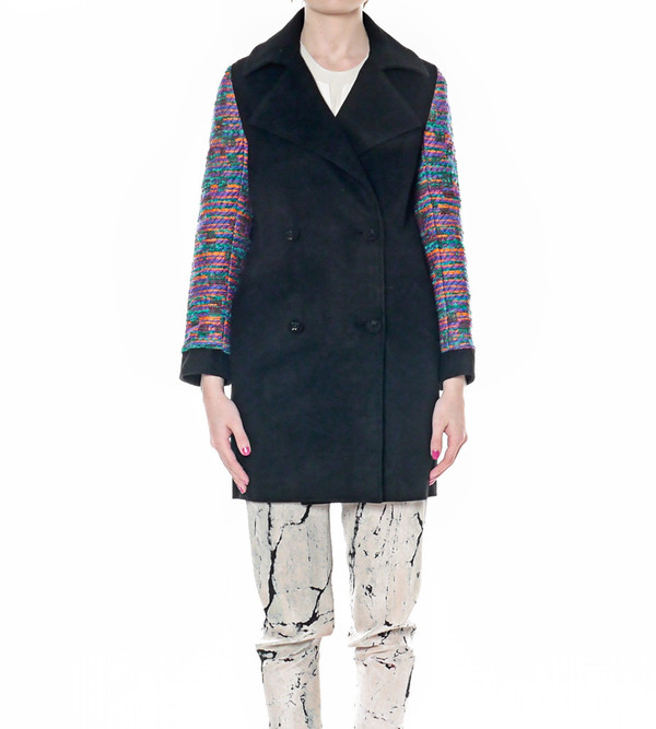 Calla Overcoat with Tweed Sleeves