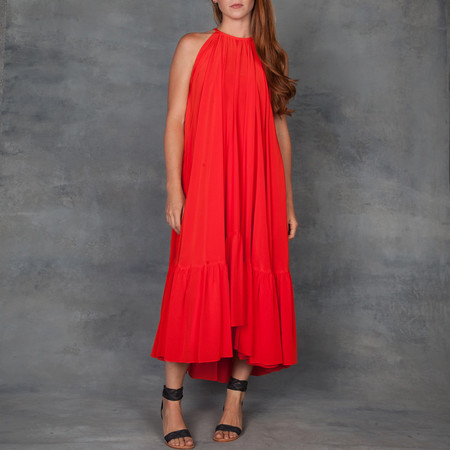 WHIT New York Poppy Silk Dress with Ruffle Hem