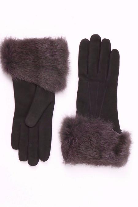 Georges Morand Rabbit Cuff Suede Gloves