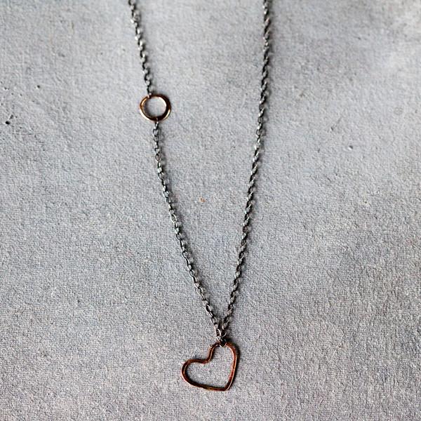 Melissa Joy Manning Heart Pendant Mixed Silver Gold Heart Necklace