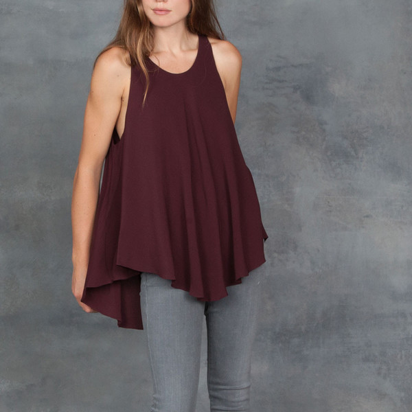 Sen Swing Tank Top in Burgundy