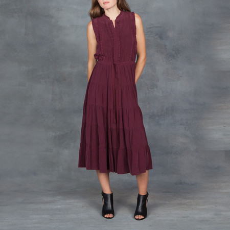 Ulla Johnson Minetta Pleated Dress Bordeaux in Silk